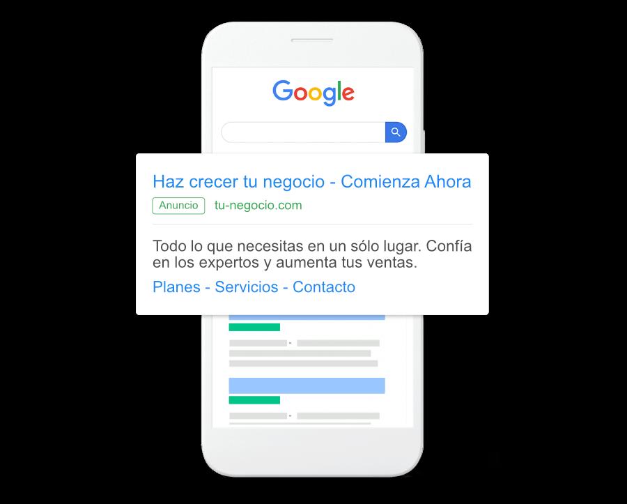 Celular con anuncio de Google Adwords resaltado